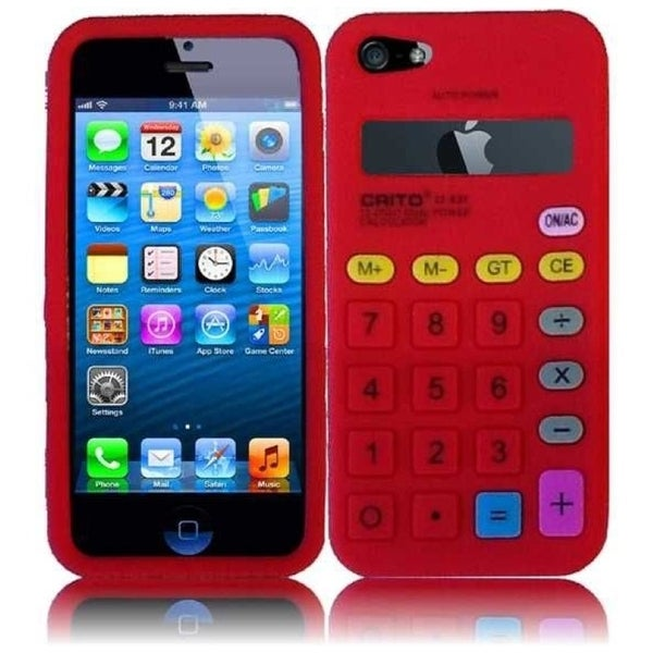 INSTEN Red Calculator 3D Rubber Soft Silicone Soft Skin Gel Phone Case Cover for Apple iPhone 5/ 5S