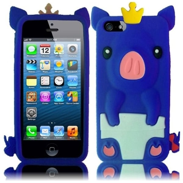 INSTEN Blue Pig 3D Rubber Soft Silicone Soft Skin Gel Phone Case Cover for Apple iPhone 5 / 5S / SE