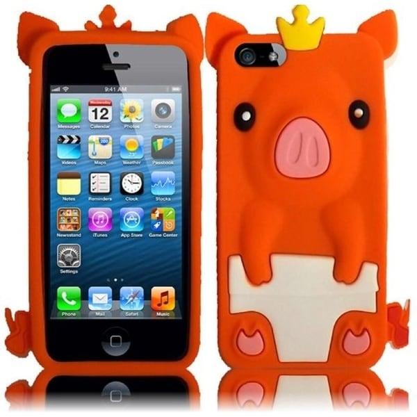INSTEN Orange Pig 3D Rubber Soft Silicone Soft Skin Gel Phone Case Cover for Apple iPhone 5 / 5S / SE