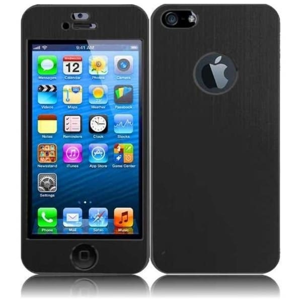 INSTEN Plain Black Metal Sticker Phone Phone Case Cover Protector for Apple iPhone 5/ 5S