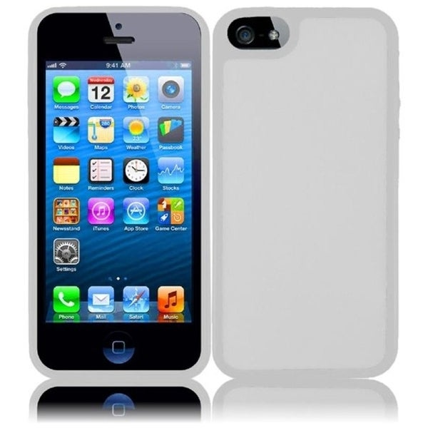 INSTEN Clear/ White TPU Rubber Candy Skin Phone Case Cover for Apple iPhone 5/ 5S
