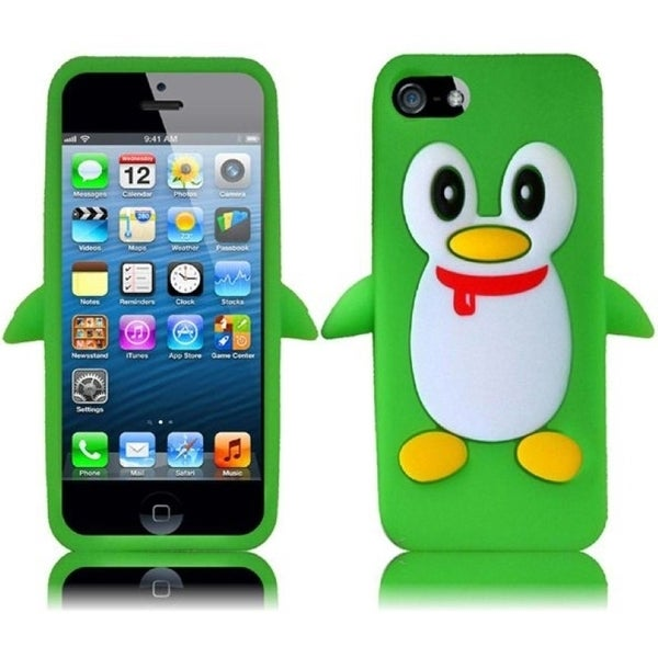 BasAcc Neon Green Penguin Silicone Case for Apple iPhone 5