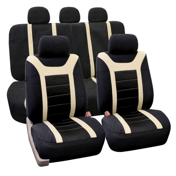 FH Group Beige Airbag Compatible Sports Car Seat Covers