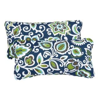 Floral Navy Corded 12 x 24 Inch Indoor/ Outdoor Lumbar Pillows (Set of 2)