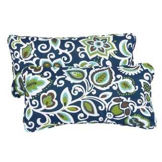 Floral Navy Corded 12 X 24 Inch Indoor/ Outdoor Lumbar Pillows (Set Of 2