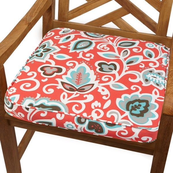 Floral Coral 19-inch Indoor/ Outdoor Corded Chair Cushion