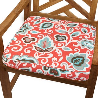 Coral Floral 20-inch Indoor/ Outdoor Corded Chair Cushion