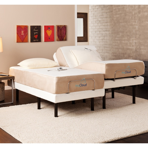 mycloud adjustable bed split king size with 10 inch gel infused memory foam mattress - Split King Bed Frame