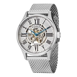 Stuhrling Original Men's Atrium Elite Automatic Skeleton Stainless Steel Mesh Band Watch