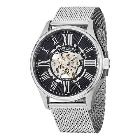 Stuhrling Original Men's Atrium Elite Automatic Skeleton Stainless Steel Mesh Band Watch - silver