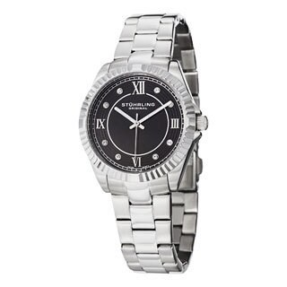 Stuhrling Original Women's Lady Nautic Silver/Black Swiss Quartz Bracelet Watch