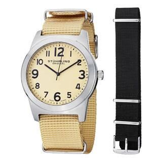 Stuhrling Original Men's Contrail Silver/Tan Japan Quartz Interchangeable Strap Watch Set