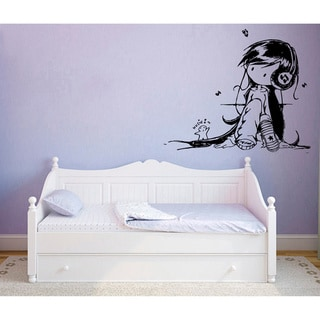 Shop Anime Girl With Headphones Vinyl Wall Decal Free