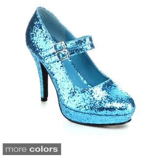 Ellie Women's '421-Jane-G' Glittery Double Strap Mary Jane Heels