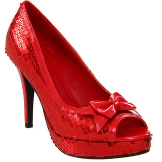 Ellie Women's '420-Dorothy' Red Sequined Peep-toe Pumps