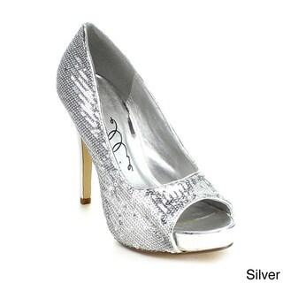 Ellie Women's '415-Flamingo' Open Toe Glitter Pumps