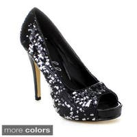 Ellie Women's '415-Flamingo' Open Toe Glitter Pumps