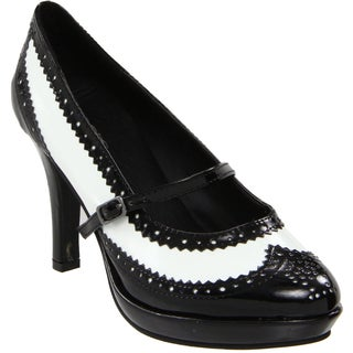 Ellie Women's '414-Flapper' Black/ White Pointed Toe Pumps