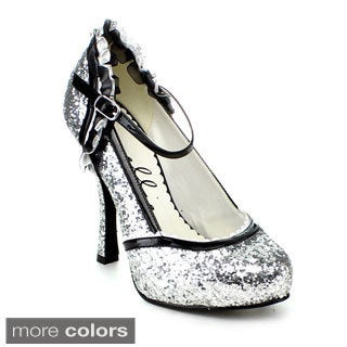 Ellie Women's '453-Lacey' Mary Jane Glitter Pumps