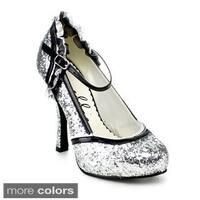 Ellie Women's '453-Lacey' Mary Jane Glitter Pumps