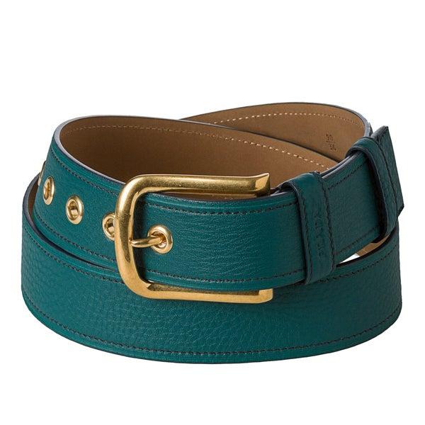 Prada 'Daino' Teal Classic Leather Belt