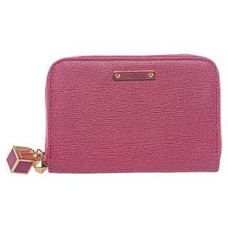 Fendi Pink Saffiano Leather Mini Zip-around Wallet