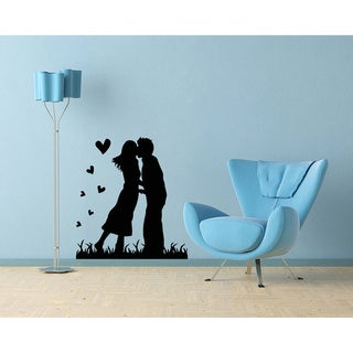 Couple in Love Kissing with Hearts Wall Vinyl Decal