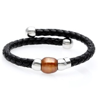 Sterling Silver Brown Freshwater Pearl Braided Wire Cuff (10-11mm)