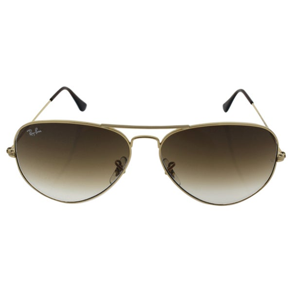 94b24ef82 Shop Ray-Ban Aviator 'RB3025' Unisex Gold Frame Light Brown Gradient ...