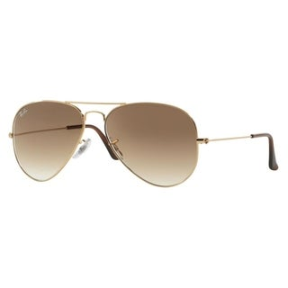deals on ray ban sunglasses  sale. ray ban aviator 'rb3025' unisex gold frame light brown gradient lens sunglasses