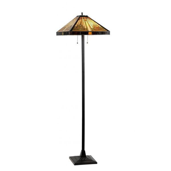 Chloe Tiffany Style Mission Design 2 Light Dark Antique Bronze Floor Lamp