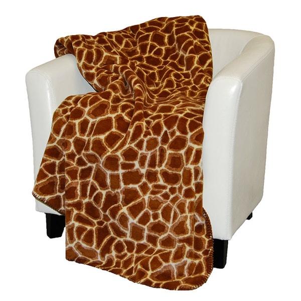 Denali Spice Brown Giraffe Print Throw Blanket