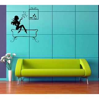 Girl with Cosmetics Vinyl Wall Decal