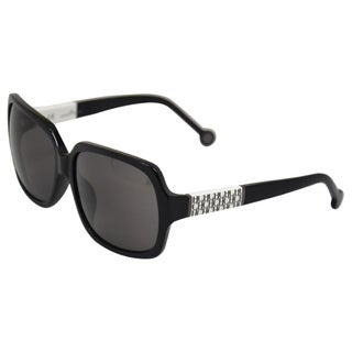 Carolina Herrera Women's 'SHE537 0700' Black Oversized Sunglasses