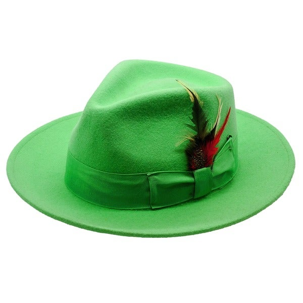 Ferrecci Mens Lime Green Fedora Hat Free Shipping On