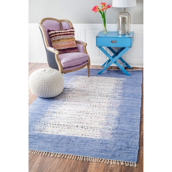 Nuloom Handmade Abstract Border Flatweave Cotton Rug 5 X27