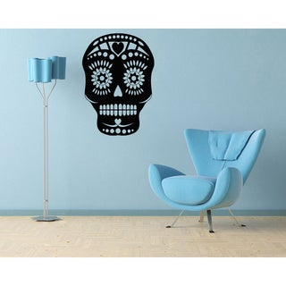 Floral Skull Mask Vinyl Wall Decal