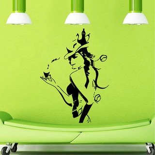 Girl with Coffee Cup Wall Vinyl Decal