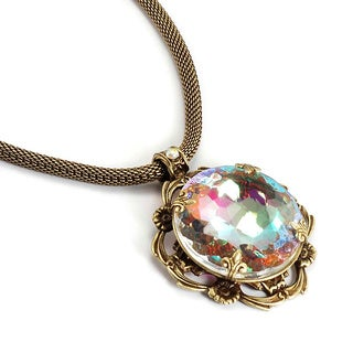 Sweet Romance Large Aurora Crystal Vintage Pendant Necklace
