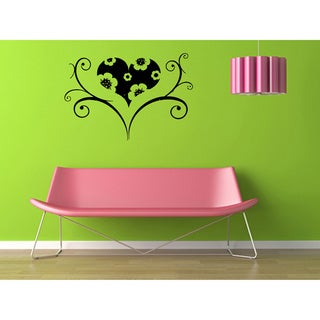 Heart in Floral Ornament Vinyl Wall Decal