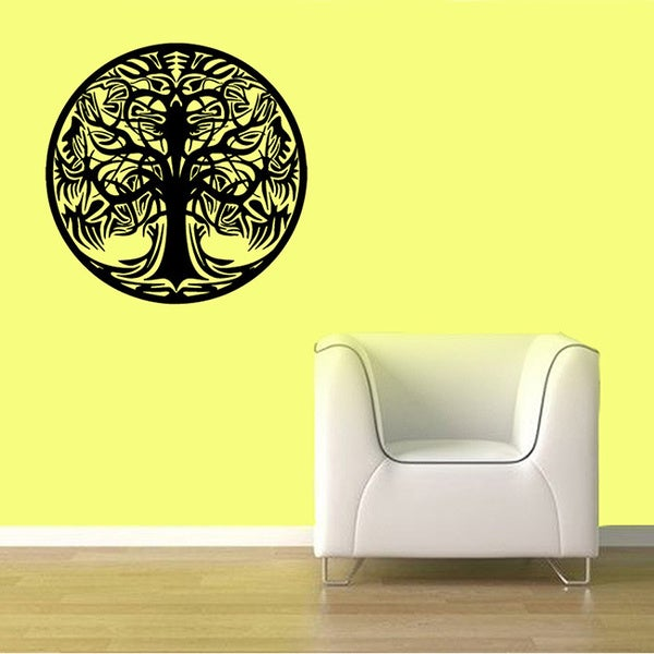 Shop Circle Tattoo Tree Vinyl Wall Decal - Free Shipping On Orders ...