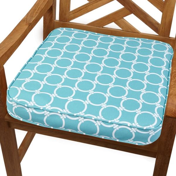 Linked Aqua 20-inch Indoor/ Outdoor Corded Chair Cushion