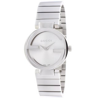 Gucci Women's YA133503 'Interlocking' Black Dial Stainless Steel Bracelet Quartz Watch