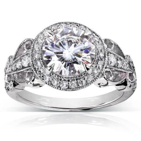 Annello by Kobelli 14k White Gold 1 7/8ct TGW Moissanite and Diamond Halo Vintage Engagement Ring