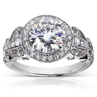AnAnnello 14k White Gold 1 7/8ct TGW Moissanite (HI) and Diamond Halo Vintage Engagement Ring