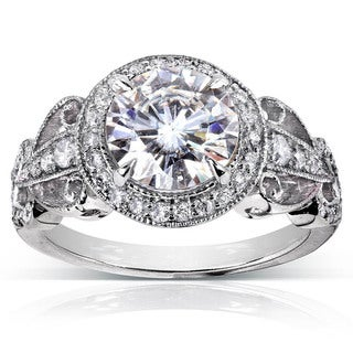 AnAnnello 14k White Gold 1 7/8ct TGW Moissanite and Diamond Halo Vintage Engagement Ring