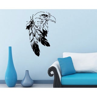 Bald Eagle with Feather Vinyl Wall Decal