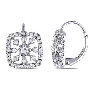 Miadora Signature Collection 14k White Gold 3/4ct TDW Diamond Snowflake Earrings