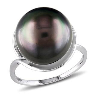 Miadora Sterling Silver Tahitian Black Pearl Ring