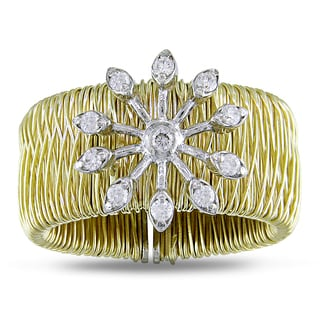 Miadora Signature Collection 18k Yellow Gold 1/5ct TDW Diamond Snowflake Ring